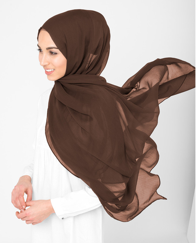 Chestnut Brown Poly Chiffon Scarf