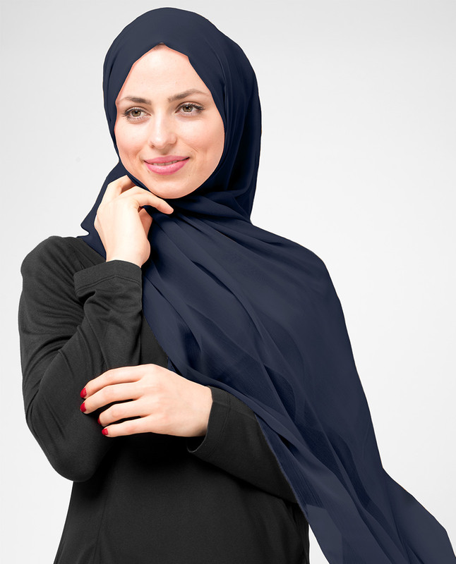 Dress Blues Poly Chiffon Scarf