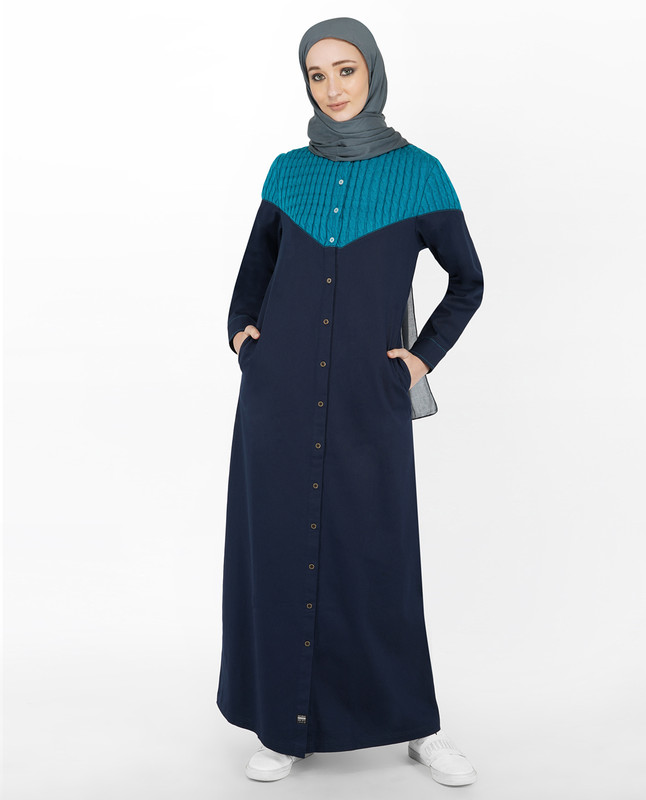 Navy & Blue Cable Knit Full Front Open Jilbab