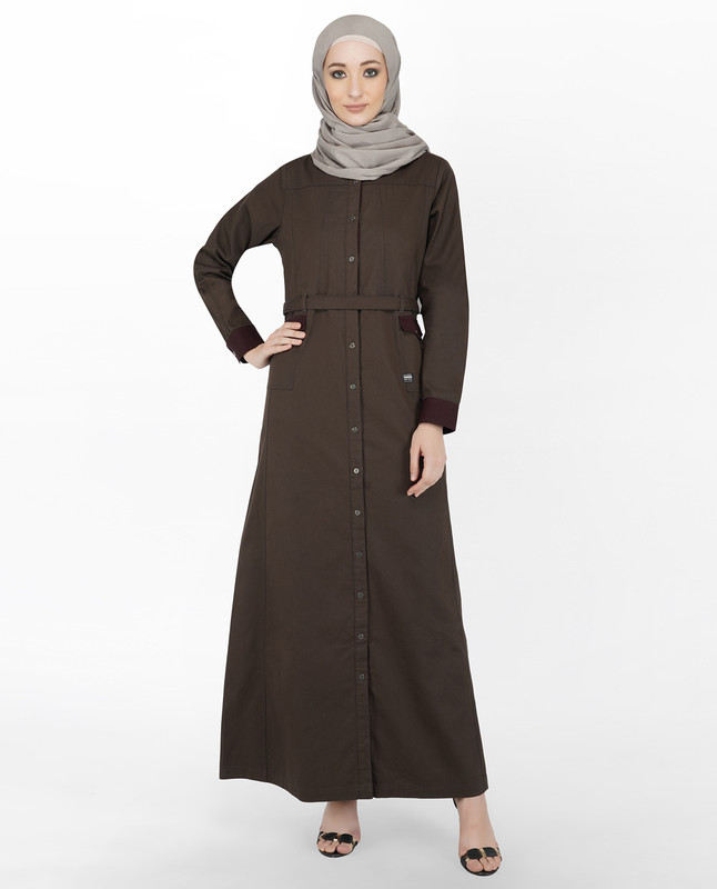 Brown & Maroon Full Front Open Jilbab