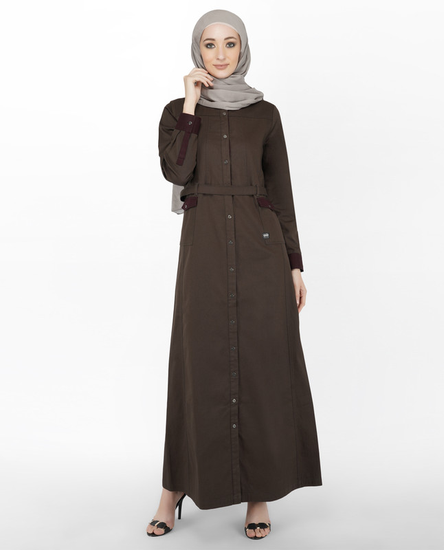 Brown & Maroon Full Front Open Jilbab