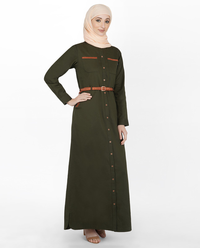 Olive & Orange Full Front Open Winter Jilbab