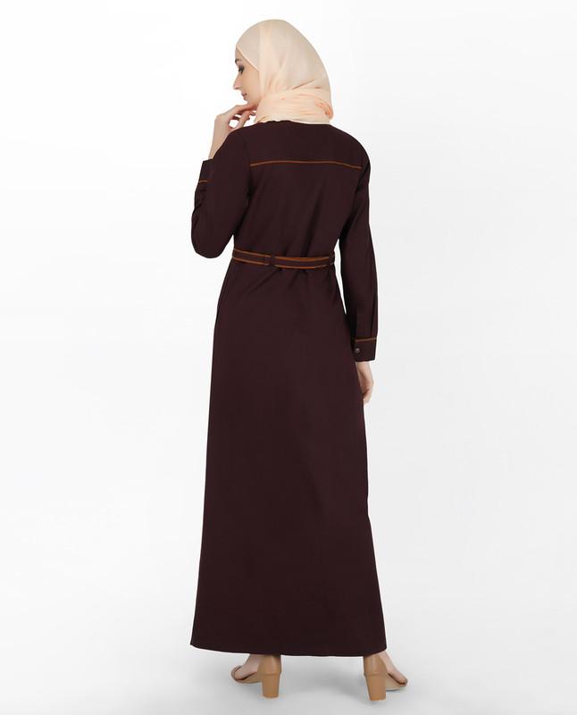 Maroon & Orange Full Front Open Jilbab