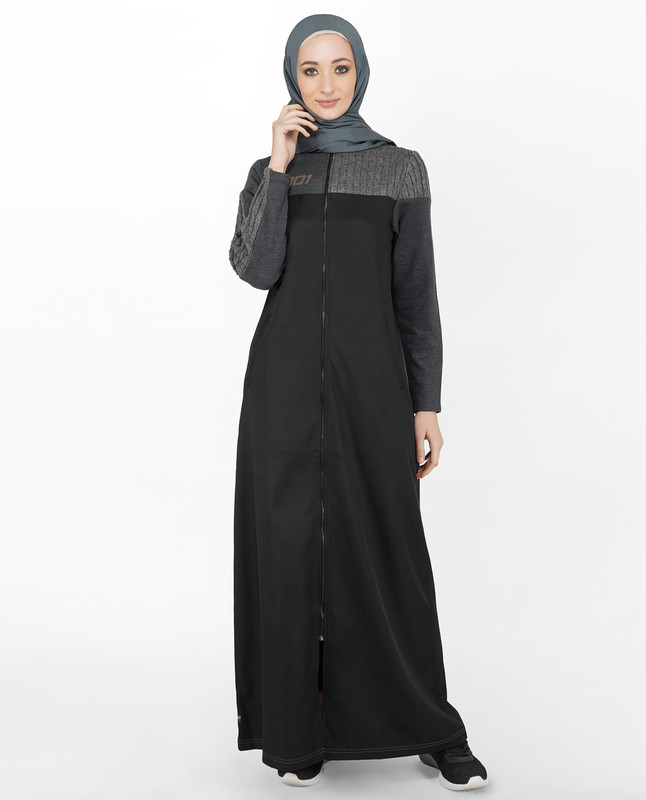 Black Full Front Zip Opening Jilbab