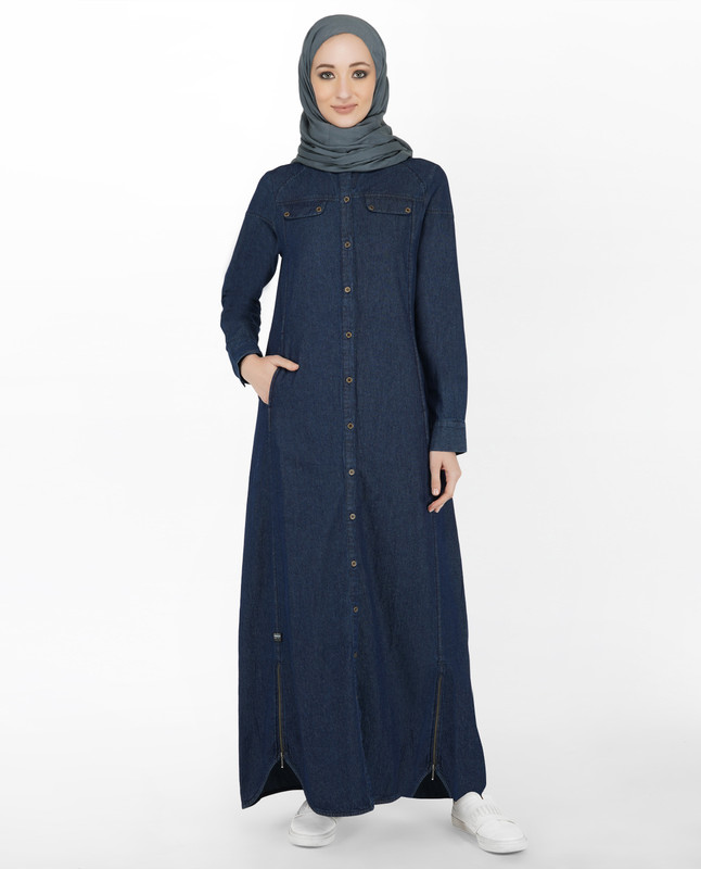 Denim Jilbab With Zips