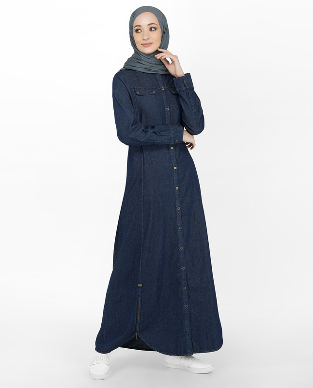 Denim Jilbab With Zips