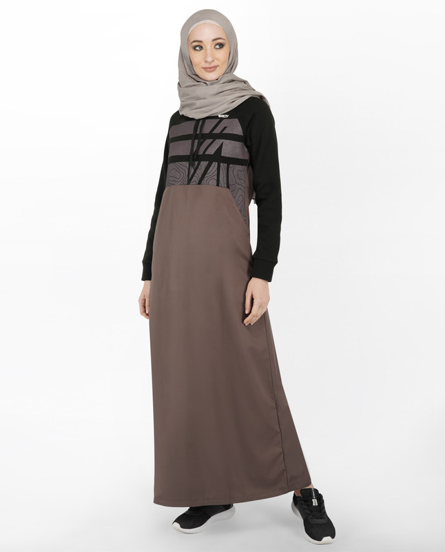 Grey & Black Abstract Print Hoody Jilbab