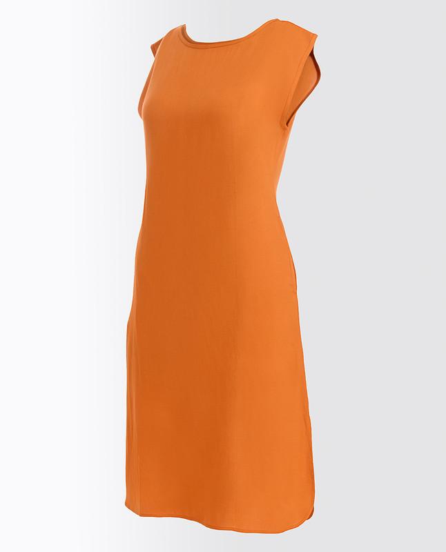Pumpkin Spice Brown Rayon Slip Dress