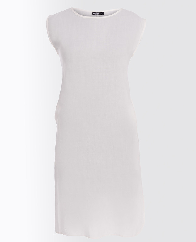 Bright White Rayon Slip Dress