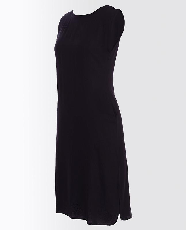 Jet Black Rayon Slip Dress