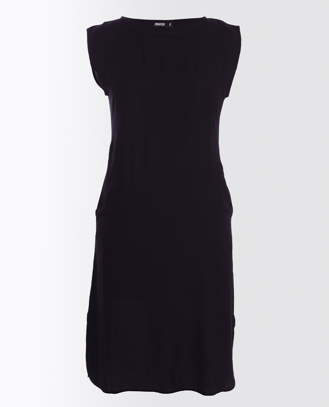 Jet Black Rayon Slip Dress