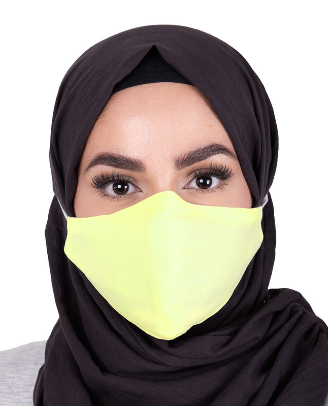 Tendor Yellow Hijab Friendly Button Fabric Mask