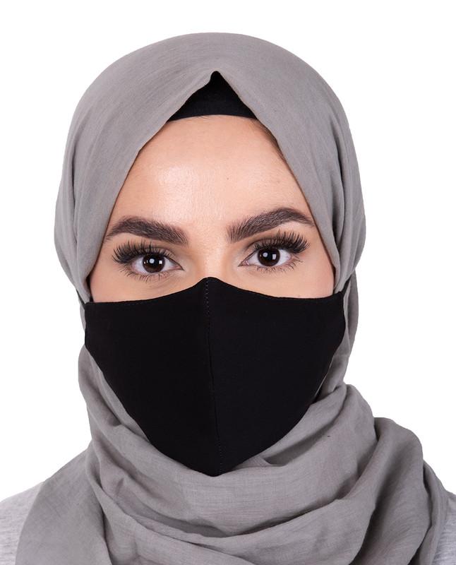 Black Hijab Friendly Button Fabric Mask