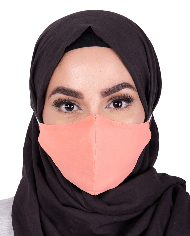 Pale Pink Hijab Friendly Button Fabric Mask