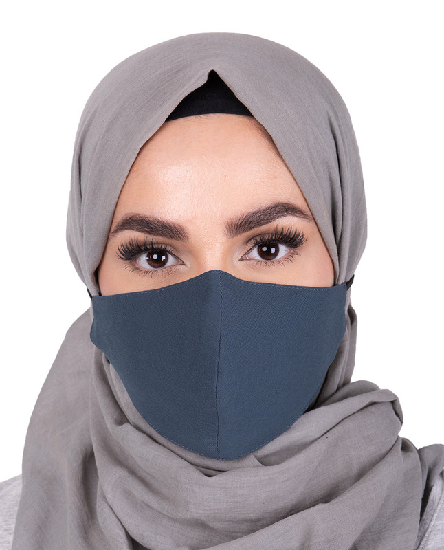 Blue Horizon Hijab Friendly Button Fabric Mask