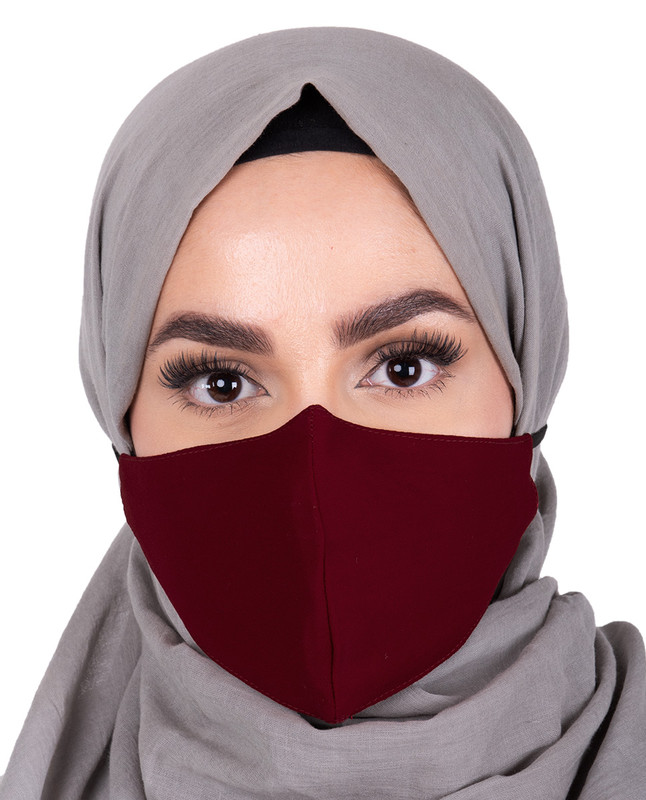 Rumba Red Hijab Friendly Button Fabric Mask