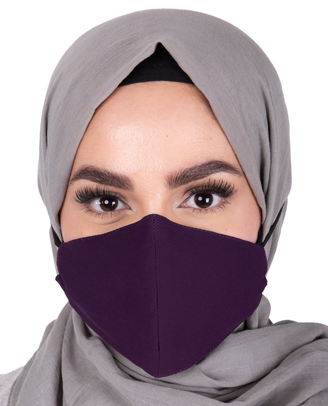 Plum Hijab Friendly Button Fabric Mask