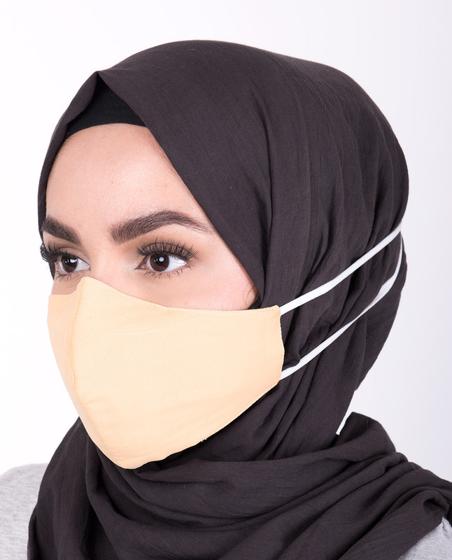 Golden Haze Hijab Friendly Button Fabric Mask