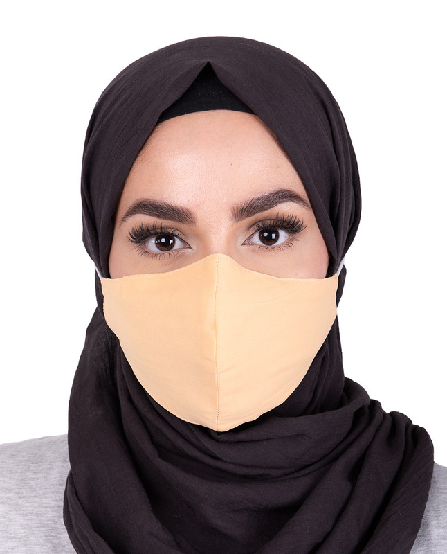 Golden Haze Hijab Friendly Button Fabric Mask