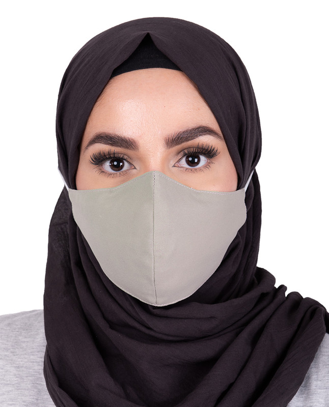Charcoal Grey Hijab Friendly Button Fabric Mask