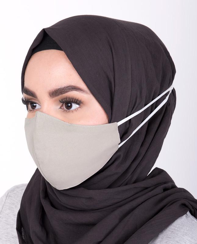 Charcoal Grey Hijab Friendly Button Fabric Mask