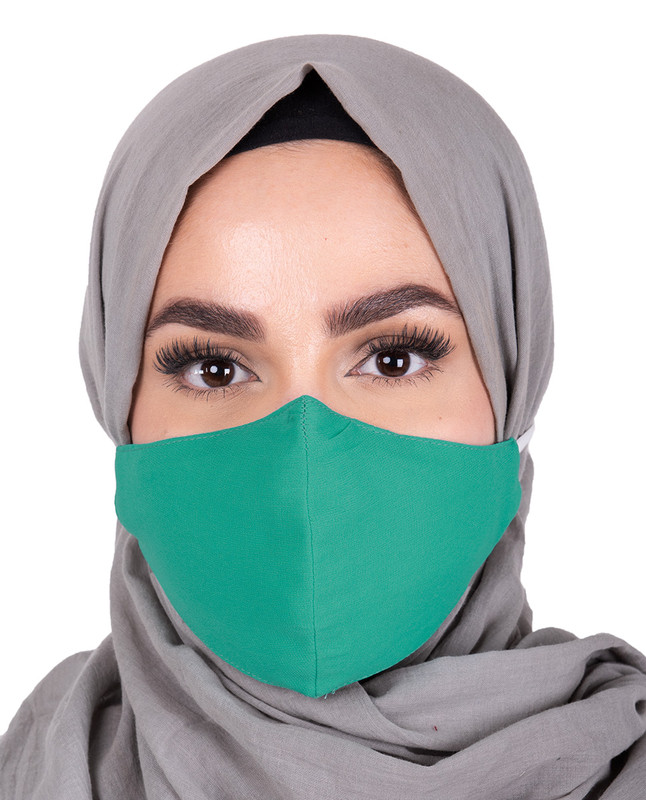 Aqua Green Hijab Friendly Button Fabric Mask