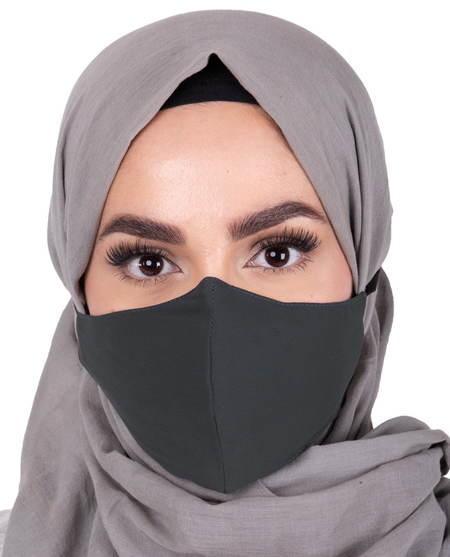 Dark Grey Hijab Friendly Button Fabric Mask