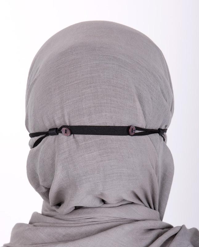 Dark Grey Hijab Friendly Button Fabric Mask