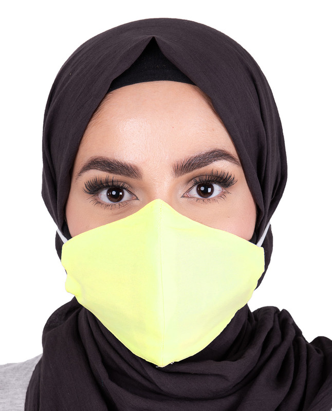 Tendor Yellow Hijab Friendly Toggle Fabric Mask