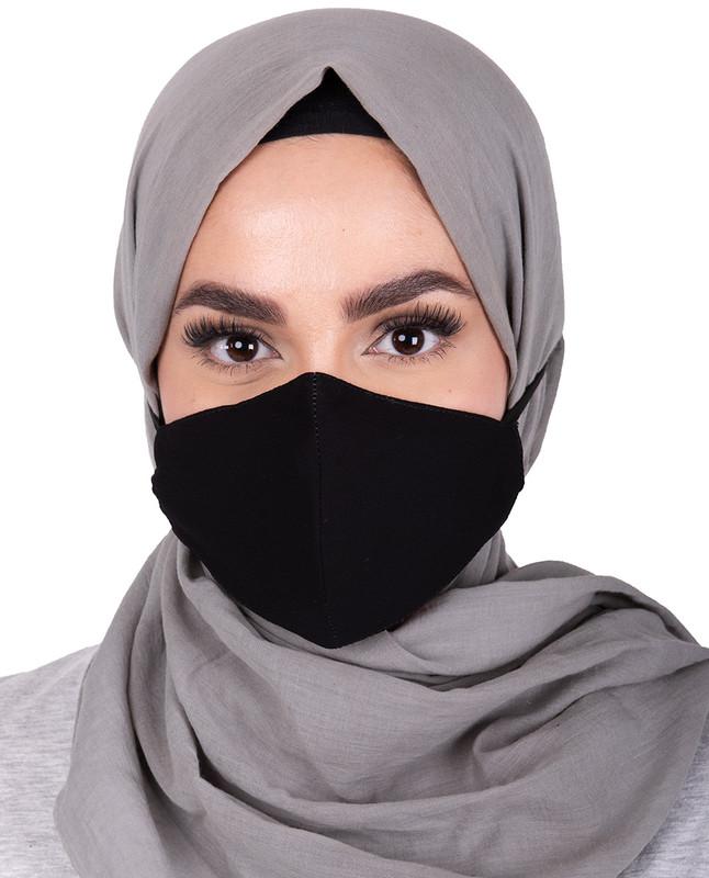 Black Hijab Friendly Toggle Fabric Mask