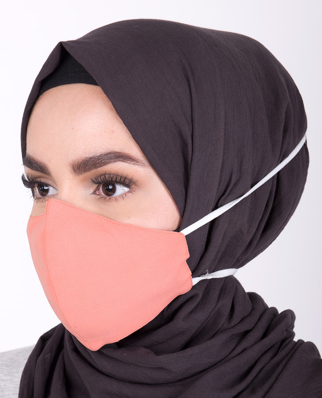 Pale Pink Hijab Friendly Toggle Fabric Mask