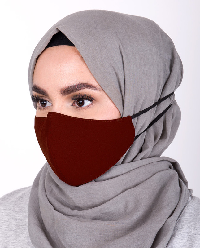 Rum Raisin Hijab Friendly Toggle Fabric Mask