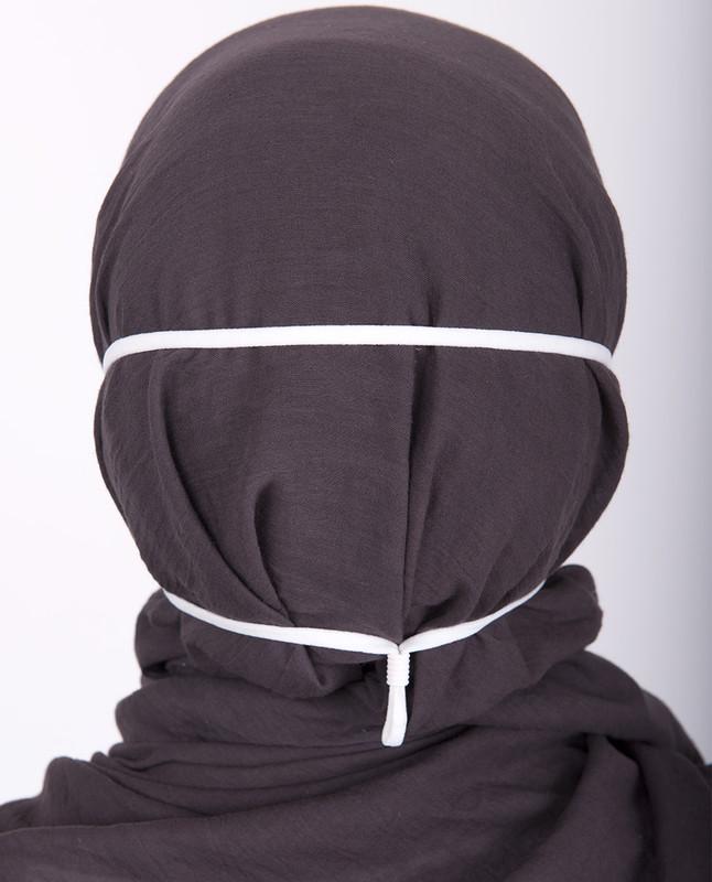 Charcoal Grey Hijab Friendly Toggle Fabric Mask