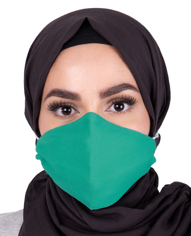Aqua Green Hijab Friendly Toggle Fabric Mask
