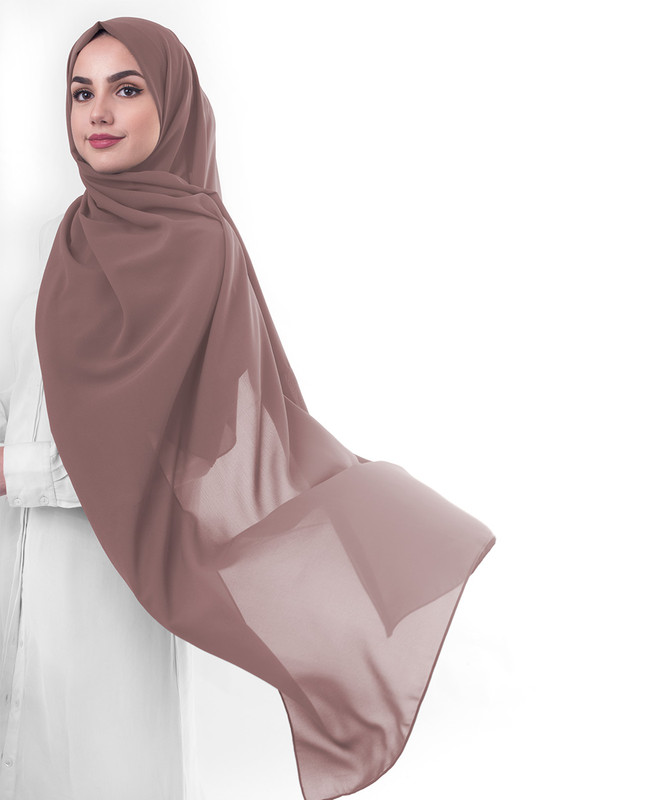 Cognac Poly Georgette Scarf
