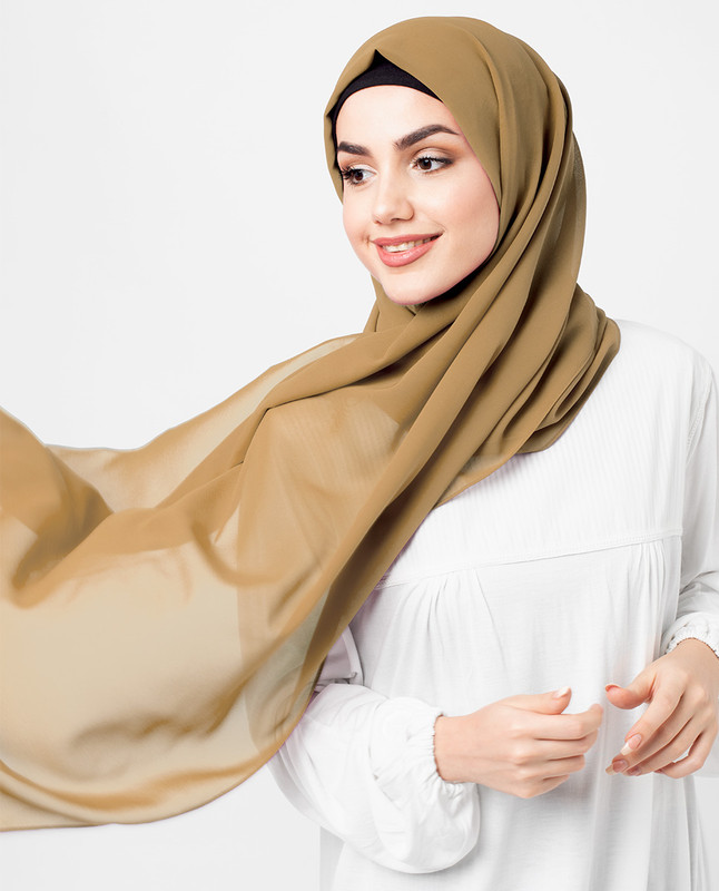 Almond Brown Georgette Scarf