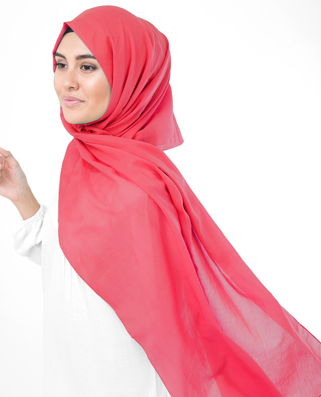 Paradise Pink Cotton Voile Scarf