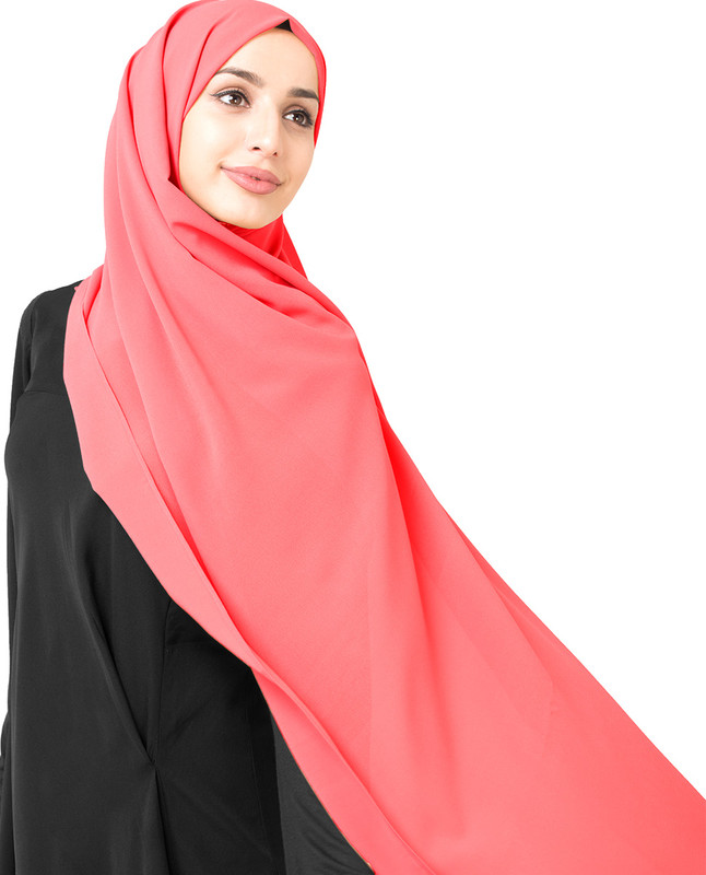Calypso Coral Poly Georgette Scarf