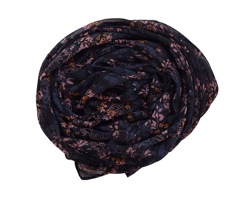Black Onyx Floral Chiffon Scarf
