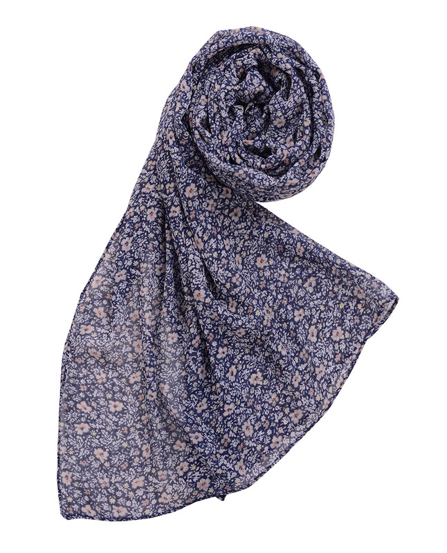 Bellwether Blue Floral Chiffon Scarf