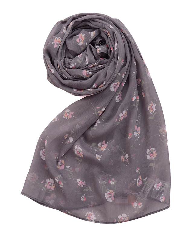 Ultimate Gray Floral Chiffon Scarf