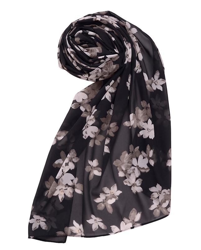 Jet Black Floral Georgette Scarf
