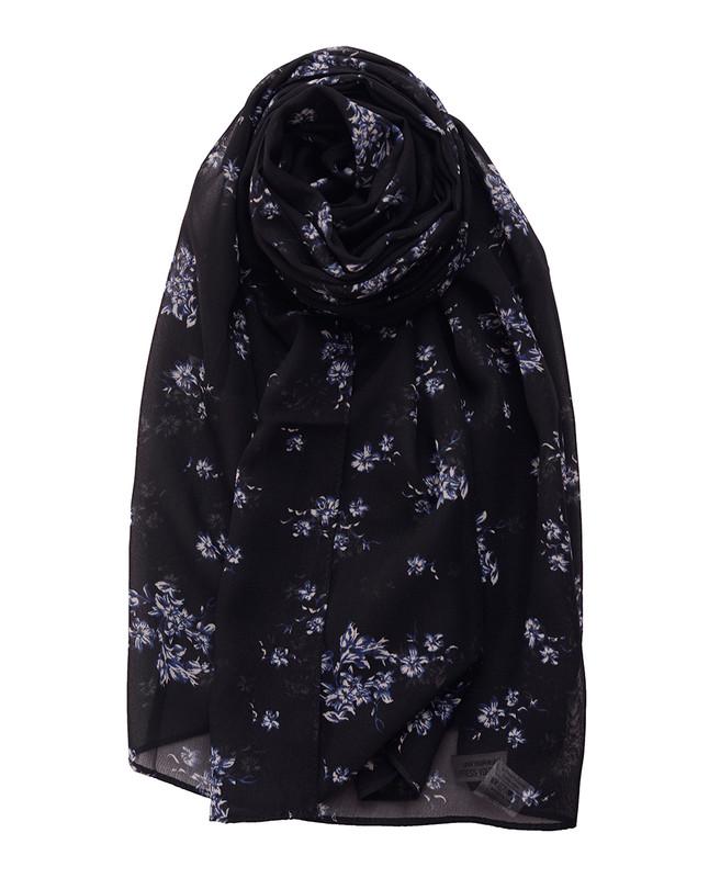 Black Beauty Floral Georgette Scarf