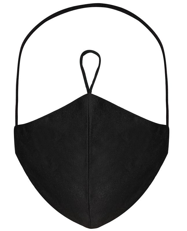 Jet Black Hijab Friendly Plain Toggle Jersey Cloth Mask