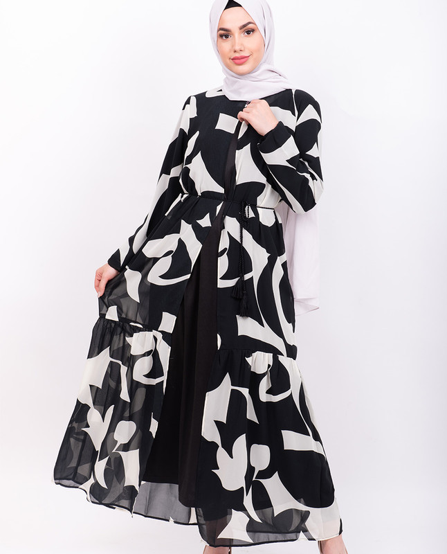 Black & White Abstract Print Outerwear