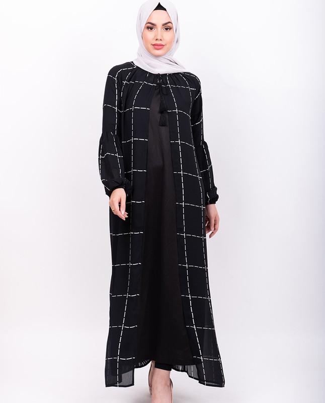 Black checkered Sheer Outerwear