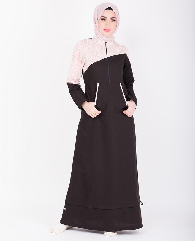 Black & Baby Pink Print Jilbab