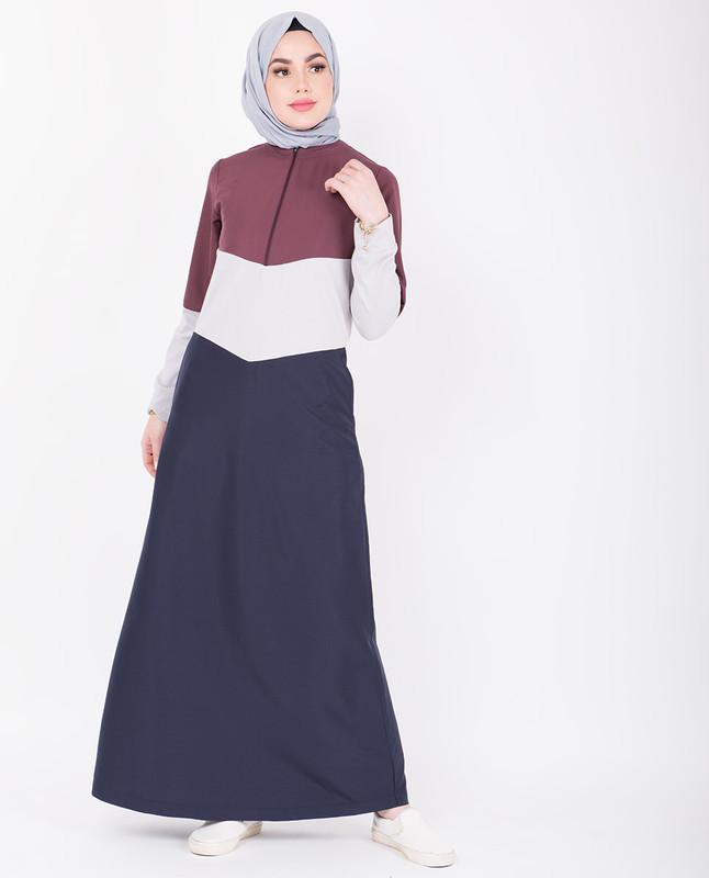 Contrast Colour Blocking Jilbab