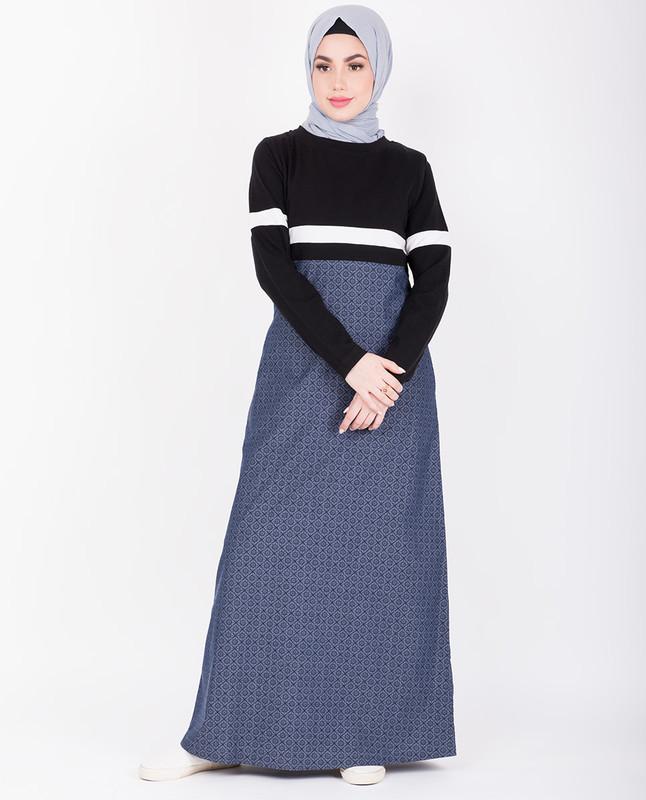 Printed Denim With Contrast Black Top Jilbab