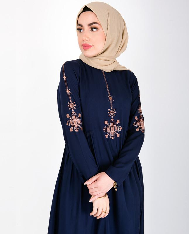 Navy Gold Embroidery Abaya